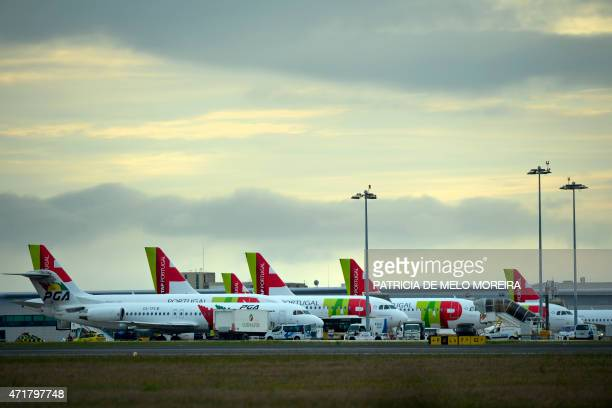 Picture shows TAP airline's planes parked at Lisbon's Airport during a pilots strike on May 1 2015 Portuguese stateowned airline TAP pilots staged a...