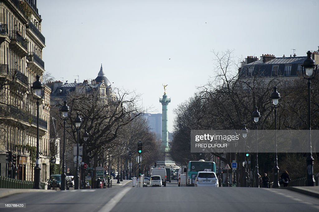 Picture shows the Auguste Dumont's Genie de la Liberte (Spirit of Freedom) on the top of the July Column, which stands in the center of the Place de la Bastille (Bastille square), on March 15, 2013 in Paris.