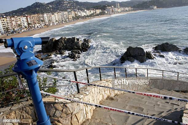 Picture shows the beach of Lloret de Mar northeastern Spain where the drowned bodies of two British women were found on October 1 2015 Rescue teams...