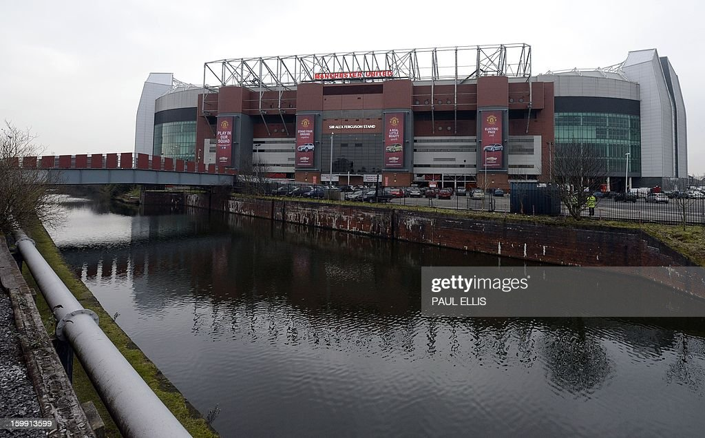 A picture shows the Bridgewater Canal next to Manchester United's Old Trafford Stadium in Salford, north west England, on January 23, 2013, where the body of 18-year-old Indian student Souvik Pal w...