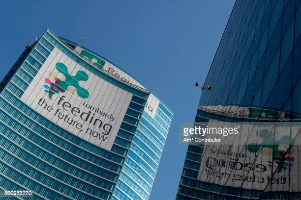 A picture shows the building of the Lombardy region on October 13 2017 in Milan A referendum will be held on October 22 2017 in the Italian regions...