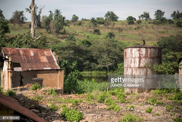 A picture shows the camp of Kigangu in Lusanga on April 22 2017 There is no tap water electricity or shops in Lusanga a Congolese town once known as...