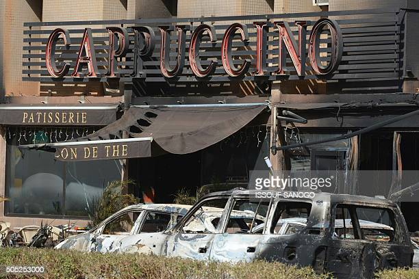 A picture shows the Cappuccino restaurant following a jihadist attack in Ouagadougou on January 16 2016 At least 26 people many of them foreigners...