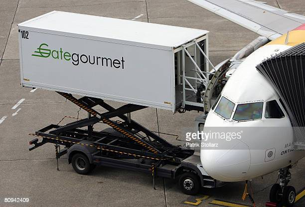 Picture shows the catering service of 'Gate gourmet' on a parking airplane at the airport Duesseldorf on April 30 2008 in Duesseldorf Germany