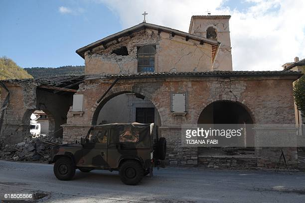 A picture shows the church of Borgo Sant'Antonio damaged by earthquakes on October 27 2016 near Visso central Italy Twin earthquakes rocked central...