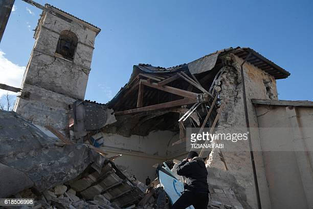 A picture shows the church of Borgo Sant'Antonio destroyed by earthquakes on October 27 2016 near Visso central Italy Twin earthquakes rocked central...