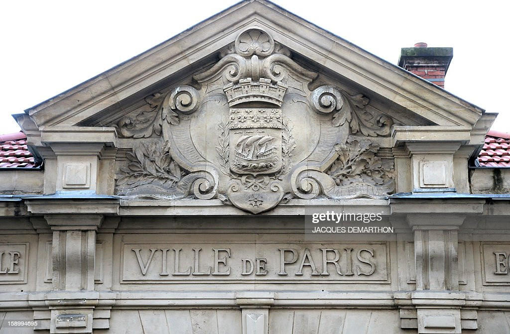 A picture shows the city of Paris' emblem on the facade of a building on January 1, 2013 in Paris.