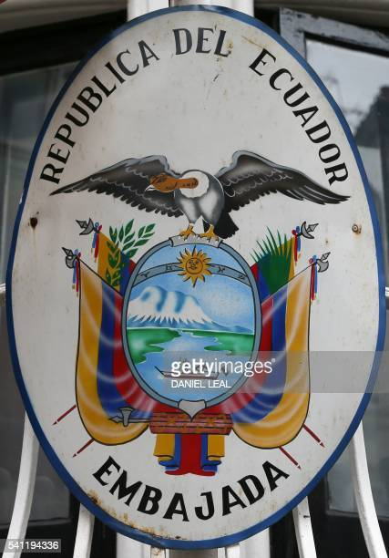 A picture shows the coat of arms on the balcony at the front of the Ecuadorian embassy in central London on June 19 where WikiLeaks founder Julian...