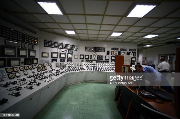 A picture shows the control room of the Garigliano Nuclear Power Plant located at the outskirts of Sessa Aurunca 160km southern Rome on October 17...