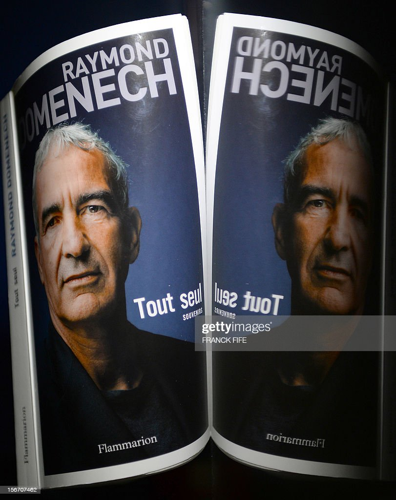 A picture shows the cover of the book 'Tout Seul' (All alone) by former French national football team head coach Raymond Domenech, on November 19, 2012 in Paris. Domenech's book which will be released in France on November 21, 2012 is based on his diary and provides for the first time his version of the famous insults launched by player Nicolas Anelka at half-time during a 2010 World Cup football match.
