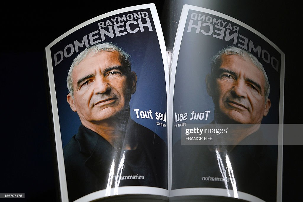 A picture shows the cover of the book 'Tout Seul' (All alone) by former French national football team head coach Raymond Domenech, on November 19, 2012 in Paris. Domenech's book, which will be released in France on November 21, 2012, is based on his diary and provides for the first time his version of the famous insults launched by player Nicolas Anelka at half-time during a 2010 World Cup football match.