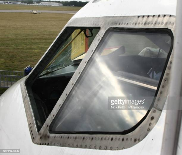 Picture shows the craked windscreen of the charter plane carrying the wales football squard which was forced to make an emergency landing at...