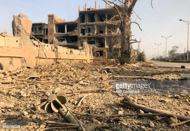 TOPSHOT A picture shows the damage in the eastern Syrian city of Deir Ezzor during a military operation by government forces against Islamic State...