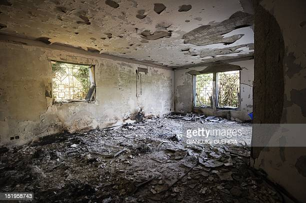 A picture shows the damage inside the burnt US consulate building in Benghazi on September 13 following an attack on the building late on September...