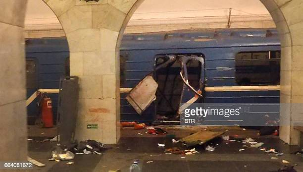 A picture shows the damaged train carriage at Technological Institute metro station in Saint Petersburg on April 3 2017 Around 10 people were feared...