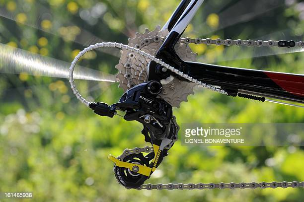 Picture shows the derailleur of a bicycle of a Kazakh's cycling team Astana rider on July 2 2010 in Capelle aan den Ijssel outside Rotterdam at the...