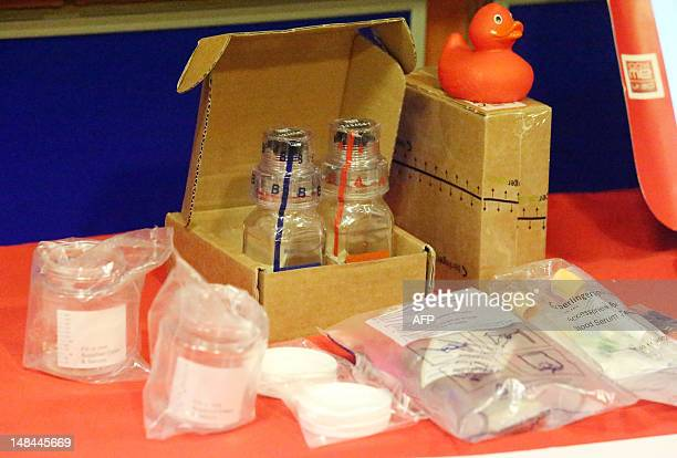 A picture shows the doping control kits issued to all athletes should they be tested for banned enhancement drugs at the Team GB training camp at...