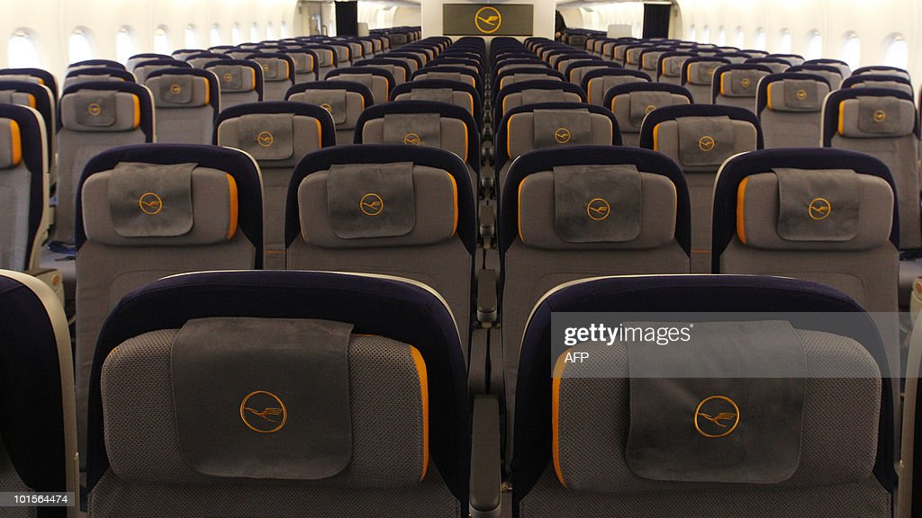 Picture shows the economy class of the new airplane Airbus A380 of the German airline Lufthansa during the test landing at the Franz-Josef-Strauss airport in Munich June 2, 2010. The A380 currently tours German airports practicing landing and take-off.