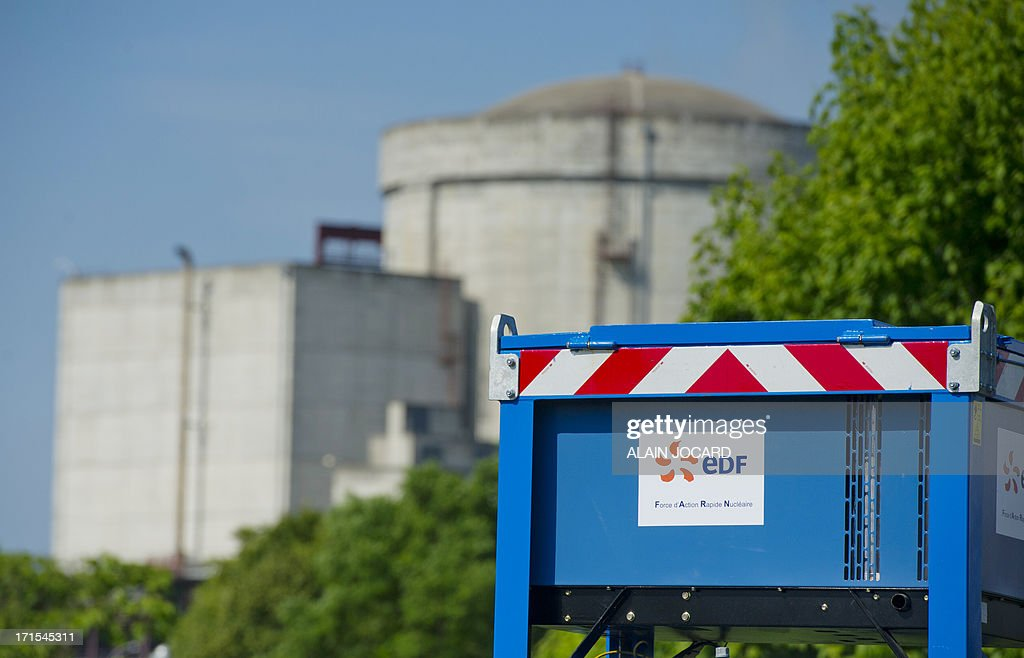 A picture shows the EDF Avoine nuclear reactor site near Chinon, western France, on June 26, 2013 as the new rapid response nuclear task force (FARN) takes part in a simulation of a nuclear accident. By the end of 2014, the FARN task will be capable of intervening at all the reactors on one EDF site simultaneously in France in an emergency.