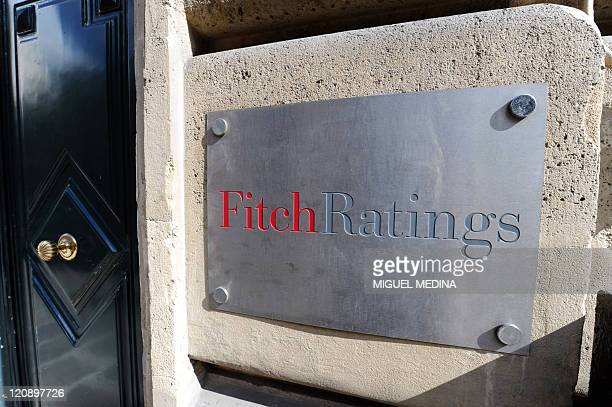 A picture shows the entrance of Fitch ratings agency on August 8 2011 in Paris Frankfurt and Paris stocks fell by more than 4 percent in afternoon...