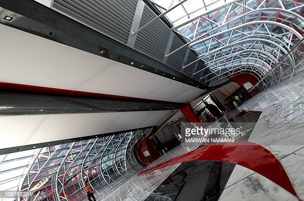 A picture shows the entrance of the Ferrari theme park in the Emirati capital of Abu Dhabi on October 26 2010 'Ferrari World Abu Dhabi' will be the...
