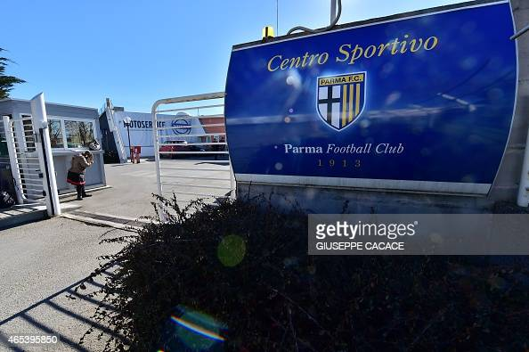 A picture shows the entrance of the Parma FC training centre in Collecchio near Parma on March 6 2015 The Italian professional football league voted...