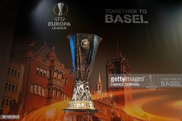A picture shows the Europa League trophy before the semifinal draw for the UEFA Europa League at the UEFA headquarters in Nyon on April 15 2016 AFP...
