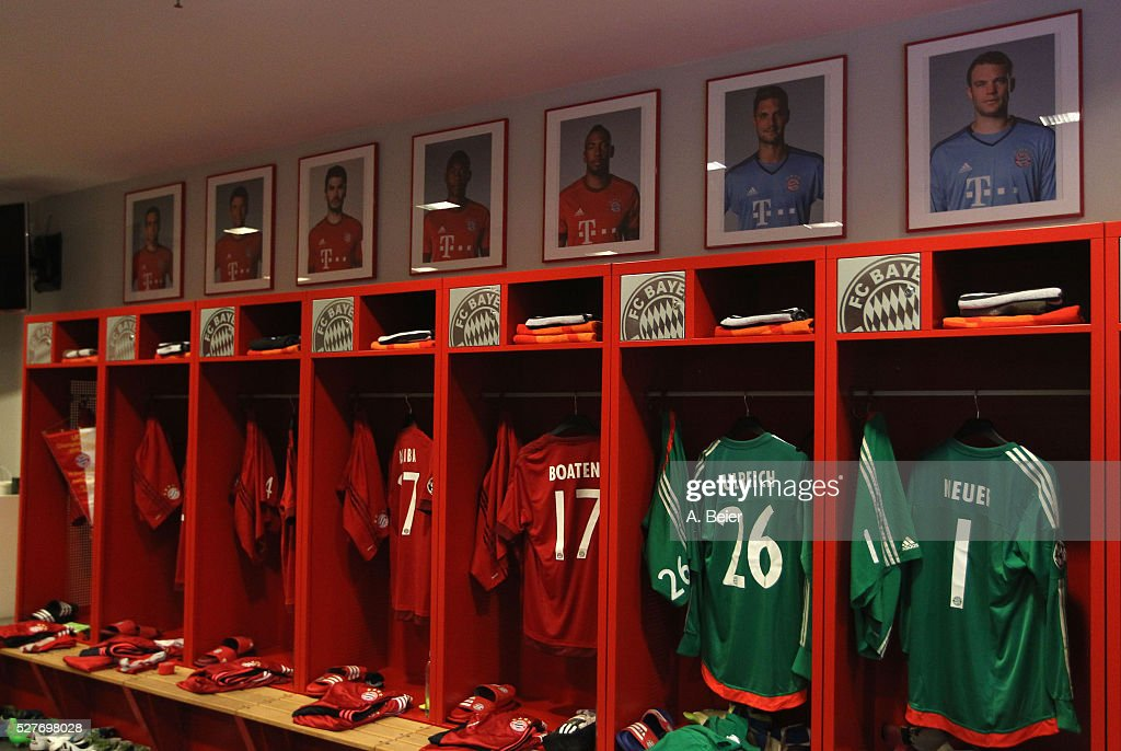 Picture shows the FC Bayern Muenchen changing room before the Champions League semi final second leg match between FC Bayern Muenchen and Club Atletico de Madrid at Allianz Arena on May 3, 2016 in Munich, Germany.