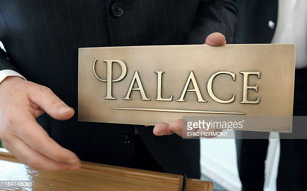 Picture shows the first plaque reading 'Palace' the French highest rating for hotels as it is granted to the fivestar hotel Bristol on May 5 2011 in...