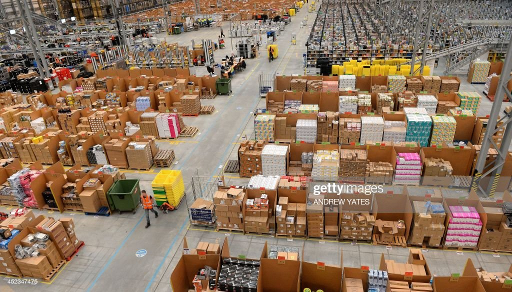A picture shows the Fulfilment Centre for online retail giant Amazon in Peterborough, central England, on November 28, 2013, ahead of Cyper Monday on December 2nd, expected to be one of the busiest online shopping days of the year.