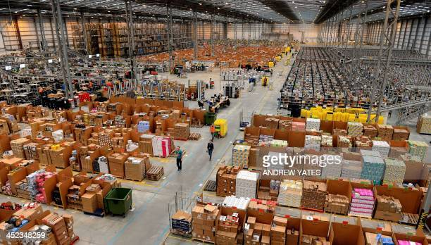 A picture shows the Fulfilment Centre for online retail giant Amazon in Peterborough central England on November 28 ahead of Cyper Monday on December...
