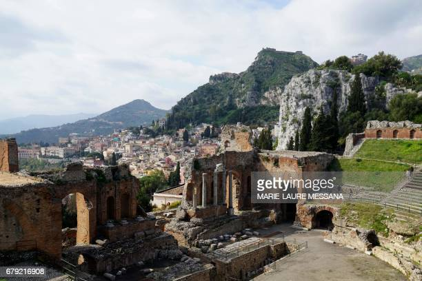 IDE A picture shows the Greek theatre of Taormina on February 15 2017 The small Sicilian city of Taormina will host the next summit of the heads of...