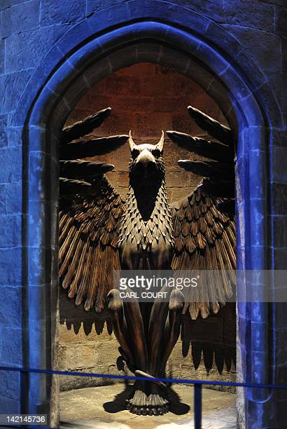 A picture shows The Griffin Stairwell ar Hogwarts during a preview of the Warner Bros Harry Potter studio tour 'The Making of Harry Potter' in north...