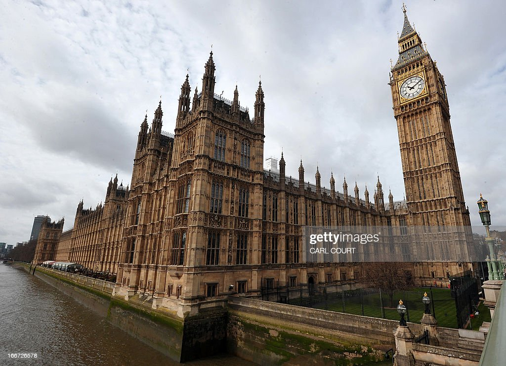 A picture shows the Houses of Parliament in Westminster, central London, on April 16, 2013, a day before the ceremonial funeral for former British prime minister Margaret Thatcher. The Iron Lady will be given a send-off full of pomp and ceremony involving 700 members of the armed forces, gunfire salutes and 2,000 guests at St Paul's Cathedral in London on April 17.
