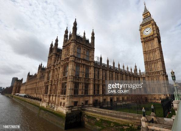 A picture shows the Houses of Parliament in Westminster central London on April 16 a day before the ceremonial funeral for former British prime...