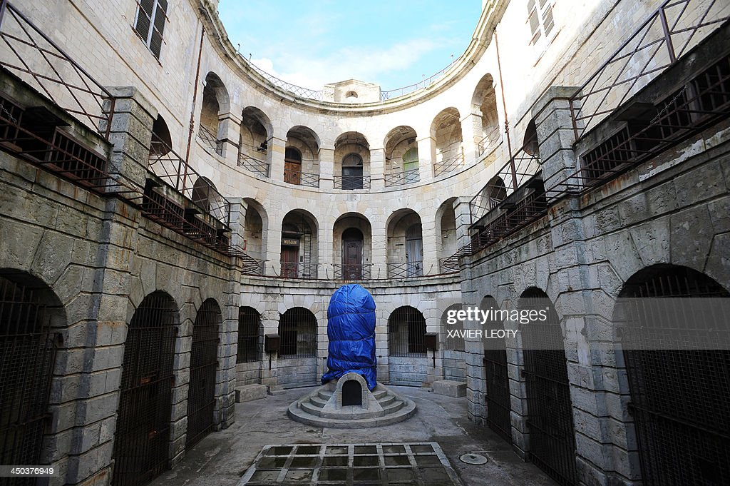 A picture shows the inside courtyard of Fort Boyard, a fort in the Atlantic Ocean off the coast of France, near La Rochelle, on November 15, 2013. The fort is the filming location for the TV gameshow 'Fort Boyard' and is undergoing renovations.