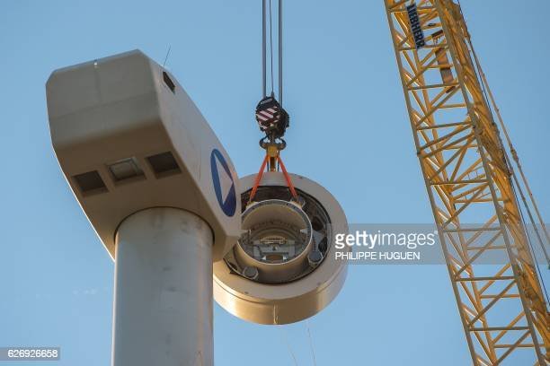 A picture shows the installation site of a wind turbine in Leury northern France on November 30 2016 / AFP / PHILIPPE HUGUEN