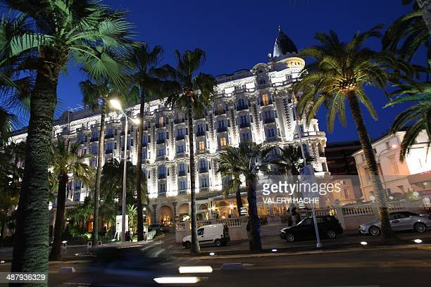 A picture shows the Intercontinental Carlton hotel on March 24 2009 in Cannes on the French Riviera Two months before the curtain goes up on the...