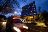 A picture shows the Intercontinental Hotel during talks over Iran's nuclear programme in Geneva on November 21 2013 Iran and world powers locked...