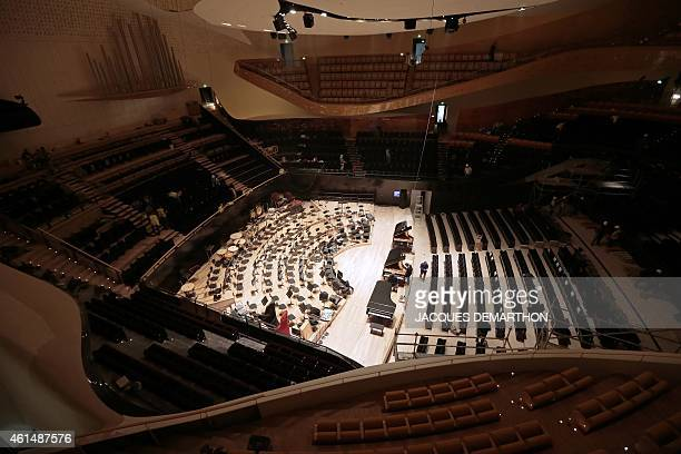 A picture shows the interior of the new Philharmonie de Paris ahead of its opening in Paris on January 13 2015 The Philharmonie de Paris opens on...