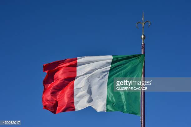 A picture shows the Italian national flag on November 26 2013 in Trieste AFP PHOTO / GIUSEPPE CACACE