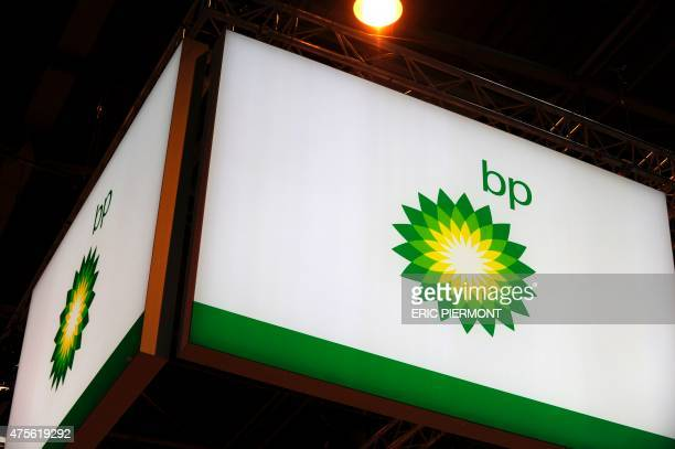 A picture shows the logo of British energy giant BP during the World Gas Conference exhibition in Paris on June 2 2015 AFP PHOTO / ERIC PIERMONT /...