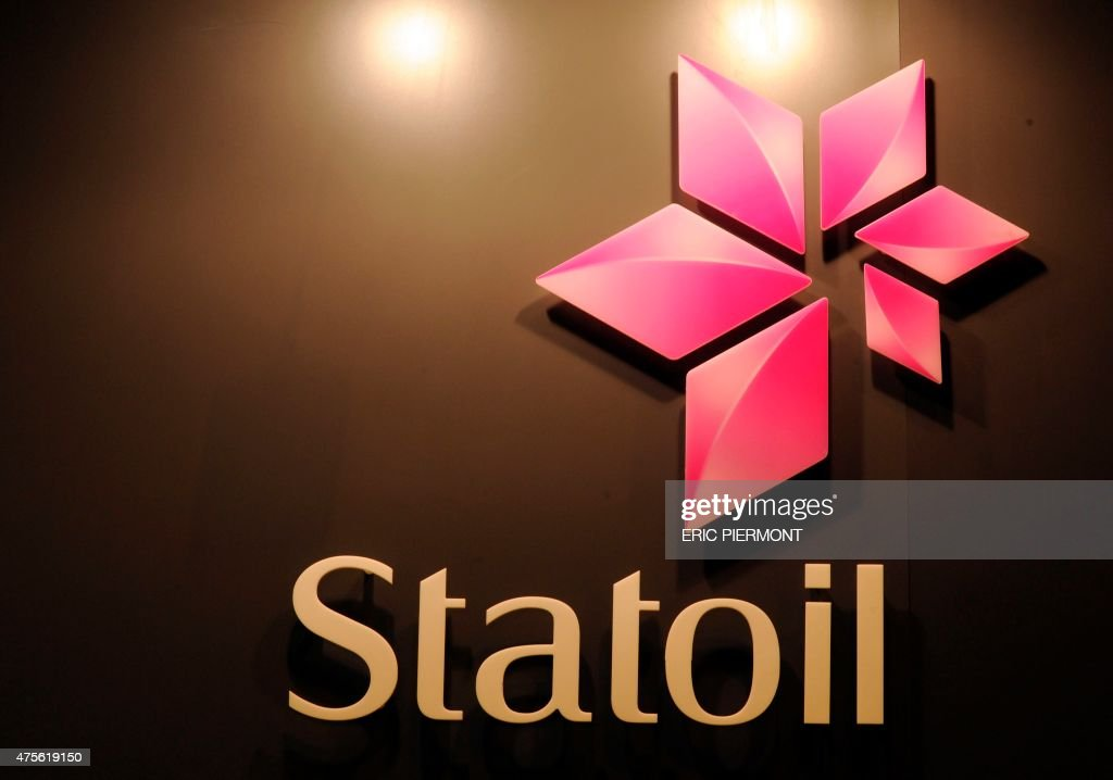 A picture shows the logo of Norwegian oil giant Statoil during the World Gas Conference exhibition in Paris on June 2 2015 AFP PHOTO / ERIC PIERMONT