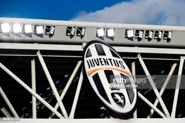 A picture shows the logo of the Juventus football club before the UEFA Champions League semi final second leg football match Juventus vs Monaco on...
