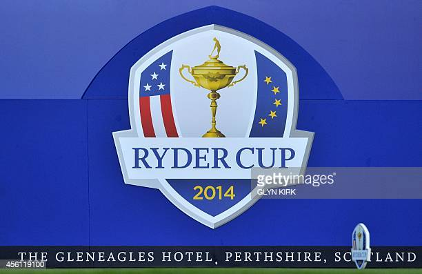A picture shows the logo on the first tee before the start of the first day of the Ryder Cup at the Gleneagles golf course in Gleneagles Scotland on...