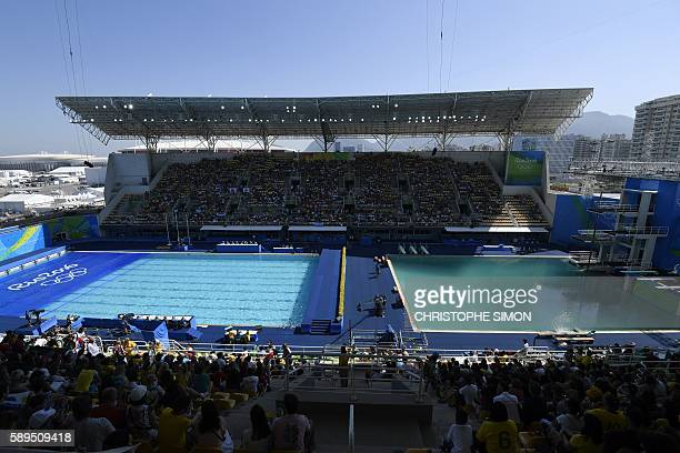 A picture shows the Maria Lenk Aquatics Stadium with green water in the diving pool before the Synchronised swimming event at the Rio 2016 Olympic...