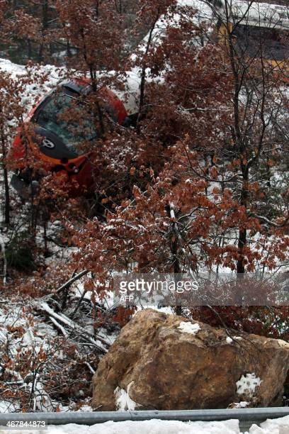 A picture shows the massive boulder which hit a passenger train near DignelesBains in the French Alps on February 8 2014 Two women were killed when a...