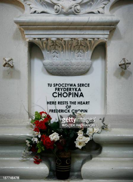 Picture shows the memorial tablet marking the place where rests the heart of Polish pianist Frederic Chopin in Warsaw Saint Cross church on June 20...