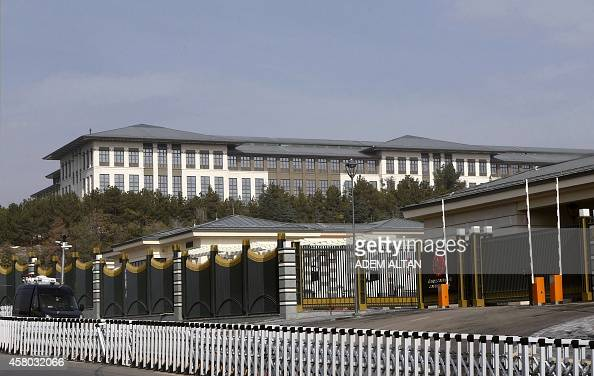 A picture shows the new Ak Saray presidential palace on the outskirts of Ankara on October 29 2014 Turkish President Recep Tayyip Erdogan unveiled...