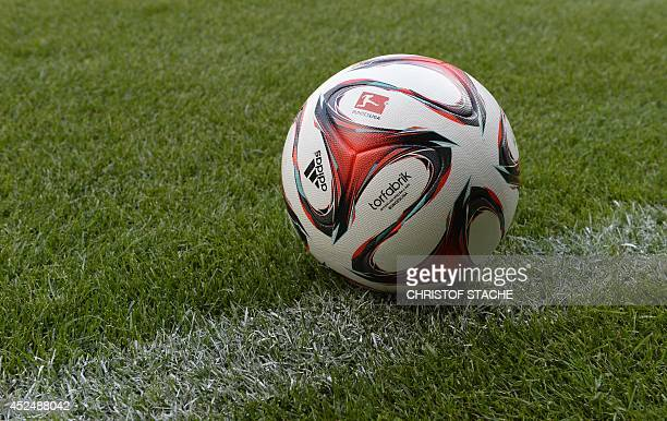 Picture shows the new ball 'Torfabrik' of the German division Bundesliga pictured during the team presentation of FC Augsburg at the stadium in...